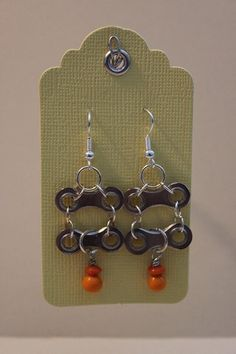 Items similar to Bike Chain Tangerine Earrings on Etsy – Famous Last Words Bicycle Crafts, Bike Craft, Bicycle Art, Bicycle Design, Bicycle Rims, Hardware Jewelry, Wire Jewelry, Jewelry Crafts, Jewelry Art