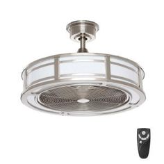 Home Decorators Collection Brette 23 in. LED Indoor/Outdoor Brushed Nickel Ceiling Fan with Light Kit with Remote Control - The Home Depot Silver Ceiling Fan, Black Ceiling Fan, Brushed Nickel Ceiling Fan, Copper Ceiling, Ceiling Fan Installation, Outdoor Light Bulbs, Fan Light Kits, Dimmable Led Lights, Ceiling Fan With Remote