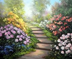 Peony Painting, Easy Canvas Painting, Garden Painting, Garden Art, Fantasy Landscape, Landscape Art, Landscape Paintings, Beautiful Landscapes, Beautiful Gardens