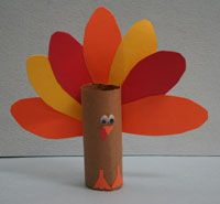 Toilet Paper Roll Turkey Craft Could be a cute way to have kids make a centerpiece to take home. They could write who/what they're thankful of on the tail feathers and then send some blank feathers home for lived ones to fill out and add to the turkey. Maybe parents could write feathers and send them in to school and students could add them before taking it home.