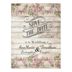 Cottage Rose Wood Save the Date Postcard - postcard post card postcards unique diy cyo customize personalize