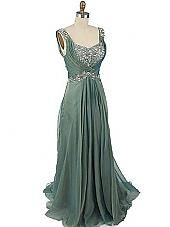 Green Chiffon Draped Back Evening Gown-Prom Dress  http://www.bluevelvetvintage.com/Iridescent-Green-Chiffon-Draped-Back-Evening-Gown.html