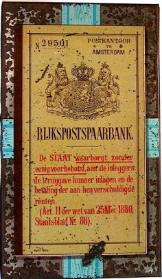 A 1900 Dutch Tin in the form of a Savings account booklet from The  Rijkspost Spaarbank in Amsterdam, around the tin lithos from the general life in Holland around 1900 in color, tin has some wear and is in my collection