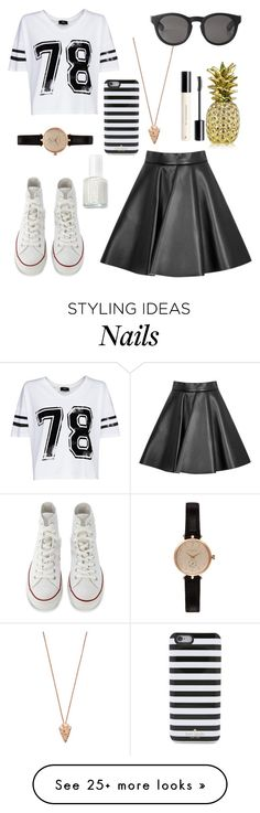 """""""Black and White"""" by bellaboo432 on Polyvore featuring Essie, Pamela Love, MSGM, MANGO, Converse, Barbour, Monki, Kate Spade, H&M and Estée Lauder"""