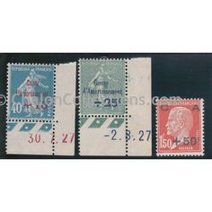 Timbre - Poste Série Caisse d'Amortissement neuf N° Yvert 246-248 Cote 70 French vintage postal stamps