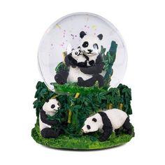 "6"""" Resin Glass Panda Bear Musical Glitter Water Globe - Plays """"The Impossible Dream"""""