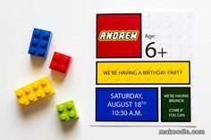 Lego Birthday Party Invitation-I like these and the idea of having them in a box. Would depend on the cost though