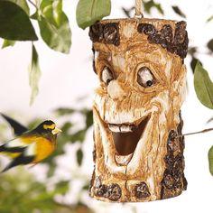 Vogelmagnet! Baumgesicht als Gartendeko! Doch kann man es auch als Vogelhaus benutzten?