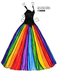 Liana's Paper Doll Blog » Ballgown with Rainbow Skirt and Black Bodice. How weird am I? My fav ideas are coming from PAPER DOLLS! At least I am making my dress...