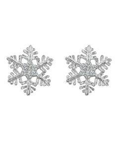 Snowflake Stud Earrings - White Gold Rhodium