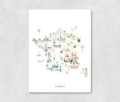 France Map Art Print Illustrated, watercolor nursery decor, country map poster for kids rooms, nurse Watercolor Map, Watercolor Illustration, Nursery Art, Nursery Decor, Country Maps, Mont Saint Michel, France Map, Sky Art, Framed Prints