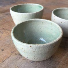 Speckle stoneware cups in Faux Celadon glaze, 2015