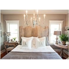 bedrooms - Sherwin Williams - Functional Gray - Reclaimed Wood Headboard Mercury Lamp The Urn Lamp with French Script Shade taupe walls gray antique chandelier mismatched nightstands monogrammed pillows gray blanket shams found on Polyvore