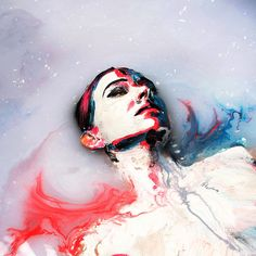 Photography of portraits Alexa Meade painted directly on Sheila Vand's body while submerged in a pool of milk.  http://www.alexasheila.com/