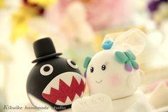 love chomp and boo bride and groom wedding cake topper by kikuike, $170.00