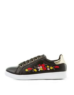 Online only! Watch the flowers blossom on these faux leather sneakers for a sweet and stylish finish! Shoestrings lace up the round toe uppers, that are extra glam with metal-tipped backs to complete the shoe. Style: PANTERATie closure at frontLightly cushioned insoleNon-skid rubber soleBrand: Qupid