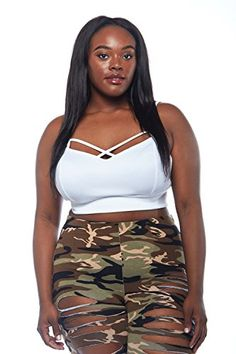 271c2e9e26a90 Womens Plus Size Solid Bralette Tank Crop Top YPT-6875 at Amazon Women's  Clothing store: