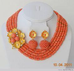 Nigerian Wedding Peach Coral Beads