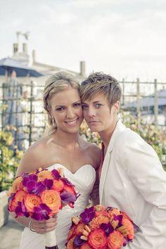 Two brides with beautiful bouquets. #lesbian #wedding #gaywedding