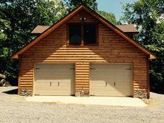 Double door log garage
