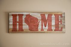 30x11in Wooden Wisconsin HOME Sign many colors by KenoshaCraft, $35.00