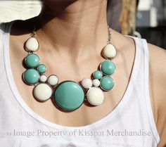 Bubble Necklace Statement Bib, Turquoise&White, Women Jewerly,Silver Chain,High Quality,Gift for Her,by kisspat $19.5