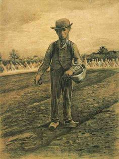 """""""Sower with Basket"""" by Vincent Van Gogh Watercolor, Black chalk, watercolour, heightened with white Etten: September, 1881 Vincent Van Gogh, Van Gogh Arte, Van Gogh Drawings, Van Gogh Watercolor, Art Van, Dutch Painters, Dutch Artists, Statues, Art History"""