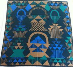 "Vera Neumann 27"" Square Scarf Green Tan Blue Geometric Basket Polyester #VeraNeumann #Scarf"
