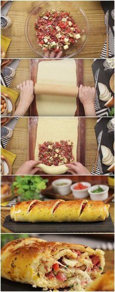 Essa é a melhor receita de Pão Recheado que você vai encontrar! (veja o passo a passo) #pão #pãorecheado #tudogostoso