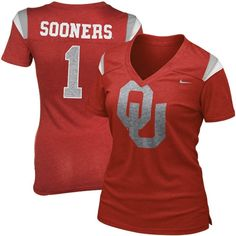 Nike Oklahoma Sooners Ladies Replica Premium V-Neck T-Shirt - Crimson