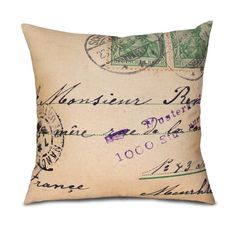 "FRENCH POSTCARD Pillow Cover- Fits 18"" pillow by OsoAndBean, $52.00. All natural fabrics, limited edition designs, all handmade in the USA! ©2014 gomodesign, inc & Oso and Bean"
