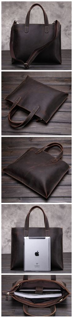 Vintage Style Genuine Leather Shoulder Bag, Messenger Briefcase