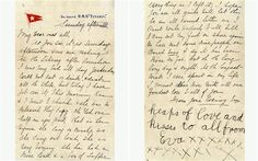 The letter, written on Titanic stationery, was written by second class passenger Esther Hart just hours before the liner struck an iceberg o. Titanic Ship, Rms Titanic, Titanic Deaths, Titanic Poster, Titanic Underwater, I Remember When, Nautical Theme, Letters, Writing