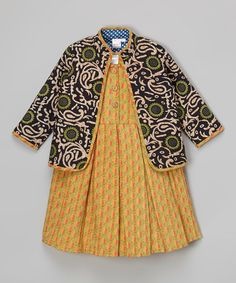 Love this Green Abstract Jacket & Yellow Babydoll Dress - Toddler & Girls on #zulily! #zulilyfinds