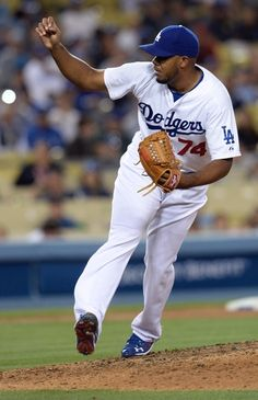 Apr 23, 2014; Los Angeles, CA, USA; Los Angeles Dodgers relief pitcher Kenley Jansen (74) pitches in the ninth inning of the game against the Philadelphia Phillies at Dodger Stadium. Dodgers won 5-2. Mandatory Credit: Jayne Kamin-Oncea-USA TODAY Sports