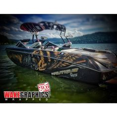 Great custom boat wrap with 3M IJ180C & 8520. Thanks Wake Graphics, wake graphics.com Boat Wraps, Graphics, Yachts, Boats, Graphic Design, Printmaking