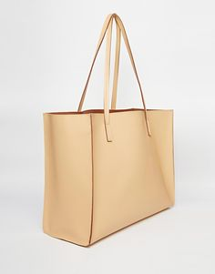 ASOS Structured Shopper Bag With Removable Clutch - Nude