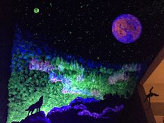 Glow in the dark wall painting mural wolf aurora borealis
