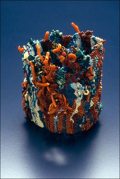 Marcie Stone - Turquoise and Coral Vessel #freeform #beadwork
