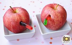 worm in an apple perfect for very hungry caterpillar party! Cute Food, Good Food, Hungry Caterpillar Party, Preschool Snacks, April Fools Day, Food Humor, Cooking With Kids, Kid Friendly Meals, Creative Food