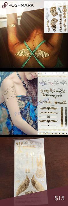 3 sheets temporary tattoos NIP beautiful gold glitter tattoos 3 sheets. Flash Tattoo Jewelry