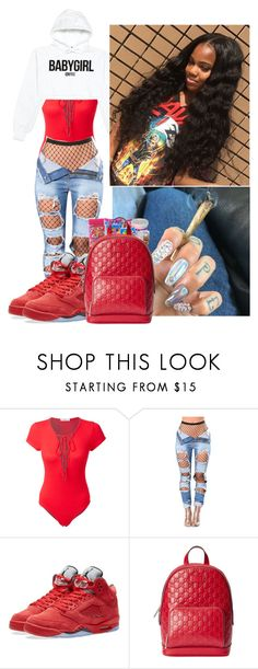 """""""Everyday We Lit"""" by voni-parks ❤ liked on Polyvore featuring LE3NO, VFiles, NIKE and Gucci"""