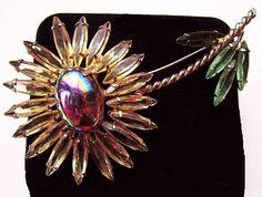 "Juliana Flower Brooch D&E Dragons Breath Jonquil Rhinestones Gold Metal 3.5"" Vintage"