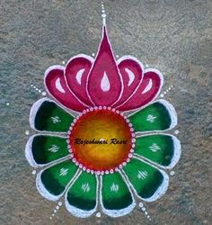 The color combination is too good. Simple Rangoli Designs Images, Rangoli Designs Flower, Rangoli Border Designs, Colorful Rangoli Designs, Rangoli Ideas, Rangoli Designs Diwali, Flower Rangoli, Beautiful Rangoli Designs, Mehndi Designs