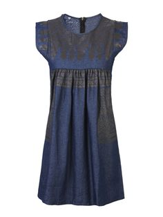 Sale 20% (18.11$) - Casual Women Vintage Sleeveless Printing Denim Blue Mini Dress