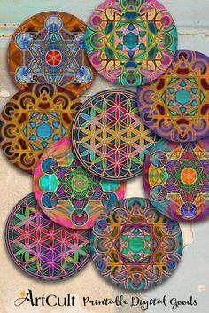 """Imprimable numérique 3"""" taille cercle ornements de géométrie sacrée Images collage de feuilles pour les miroirs de poche ronde Cupcake a aimants sous-verres"""