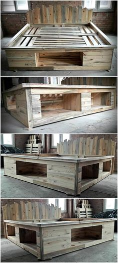 wood pallets can be modified into anything even a bed. Here we are going to present a repurposed wood pallet bed frame which also contains the storage option and you. wood pallets home decor Wood Pallet Beds, Pallet Bed Frames, Diy Pallet Bed, Wood Beds, Diy Pallet Projects, Wood Pallets, Pallet Couch, Pallet Bed Lights, Pallett Bed