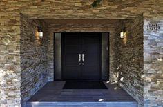 Eclectic Front Door with Double Doors, exterior tile floors Eclectic Front Doors, Exterior Tiles, Double Doors, Tile Floor, Home Improvement, Home And Family, New Homes, Flooring, Grey