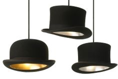 I think this bowler top hat pendant chandelier is so cool. Might try to recreate something like this for the dining room.    Jake Phipps Jeeves & Wooster pendant lights