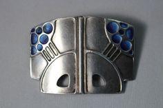 Theodor Fahrner Jugendstil Blue Enamel 935 Sterling Silver Art Deco Pin Brooch